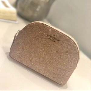Kate Spade Gold and Glitter cosmetic bag